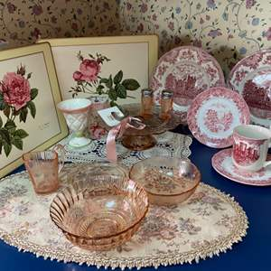 Lot # 234- Pink Depression Glass, English Cups & Saucers, Plates. Two Sterling Spoons, Wood Placemats, MORE