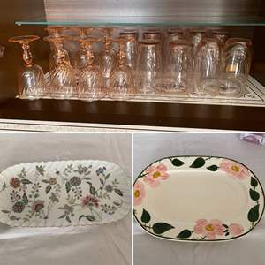 Lot # 236- Pink Glass Stemware and Tall Drinking Glasses, Floral Platters: Villeroy & Boch & Andrea by Sadek