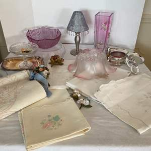 Lot # 237- Vintage Linen Table Cloths, Colorful Glass Bowls, Vase, Silver Decorative Lamp, Silver Plate Coasters and Wine Holder