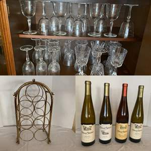 Lot # 238- Vintage Australian Crystal and Etched Crystal Wine Glasses, Brass Wine Rack. The Wine is a gift to you (not sold).