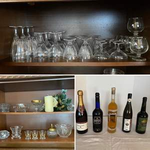 Lot # 239- Crystal, Etched Wine/Champagne Glasses, Candy Dishes, Etc... The Champagne/Wine is a gift to you (not sold).