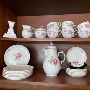 Lot # 242- Furstenberg German Porcelain Floral Teacup Set.