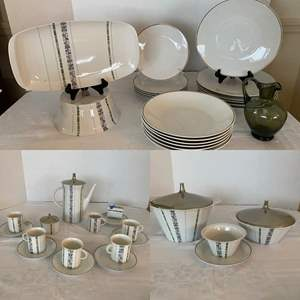 Lot # 243- Mid Century Rosenthal Germany Dinnerware Set, (chip on small bowl. chip on cup), Box with newspapers to wrap.