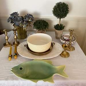 Lot # 244- Ceramic Platters and Bowl, Brass Candle Sticks and Tray, Decorative Table Items.