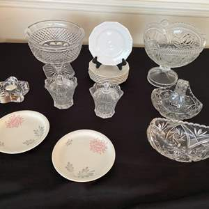Lot # 249- Vintage Cut Crystal Footed Bowls, Cream & Sugar, Candy Dishes, Rosenthal Snack Plates.