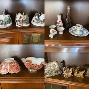 Lot # 250- Thomas Kinkade Lighted Cottages, Porcelain Sake Set (Sake is a gift not sold), Asian Soup bowls, Table Décor.