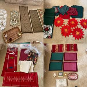 Lot # 255- Vintage Table Runners, Placemats, Wood Vase, Tray, Pier1 Christmas Table Runner and more.