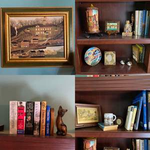 Lot # 256- Wall Art by Joseph Pickett, Collector Plate, Goebel Birds,  German Candle, Jim Shore Cat, Other Dear Doodads, Books.