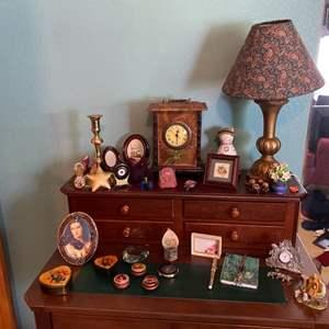 Lot # 257- Curios, Lamp, Rosenthal Heart Shaped Cut Crystal, Mini Blue Bottle Ralph Lauren Perfume, Hand Engraved Compact