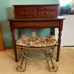 Lot # 258- Small Secretary Desk with Metal Bench Seat.