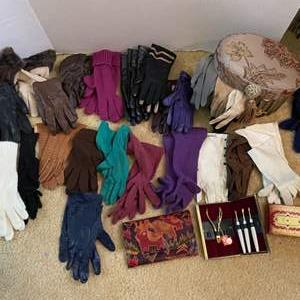 Lot # 259- Grande Collection of Vintage Gloves. Leather Wallets, Nail Kit.