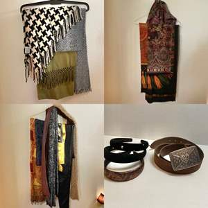 Lot # 263- Variety of Classy Scarfs, Bling Metal Belt Buckle with Leather Belt, Headbands.