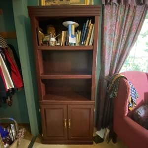 """Lot # 265- Nice Looking Wood Cabinet with Shelves, 30""""w x71""""h x 13""""d. Contents not included. Bring help to move, no stairs."""