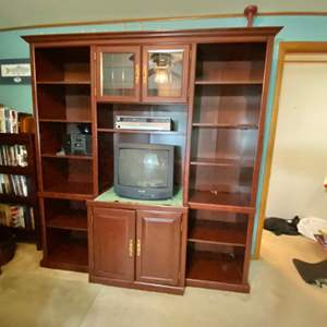 """Lot # 269- Book Shelf Cabinet and Media Wall Unit 72 x 78h x 20""""d. Comes apart for Moving. Bring your movers. No stairs."""