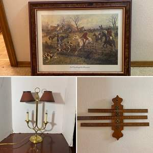 Lot # 277- Framed Equestrian Print, Vintage Wood Perpetual Calendar, Brass Candlestick Lamp with metal Shades.