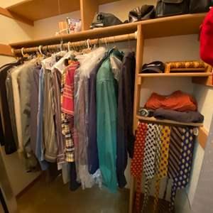 Lot # 284- Men's Wardrobe: Carhartt, Polo, Calvin Klein Dockers, Army Belt Buckle, Silk Ties & Holder, Travel Cases, More.