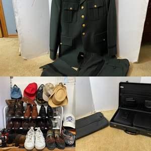 Lot # 285- Army Dress Uniform, Vintage, Boots, Shoes, Sneakers, Attaché, Leather Wallets.