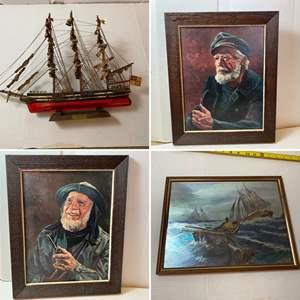 Lot # 286- Cutty Sark Model Ship, Vintage Framed Pictures.