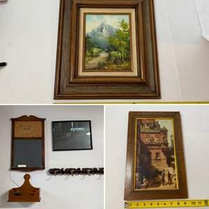 Lot # 288- Vintage Nature Painting in Wood Frame, Chalkboard, Coat Hooks, Framed Pictures.