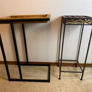Lot # 289- Metal Plant Stand, Accent Table with Removable Wood Tray Top.