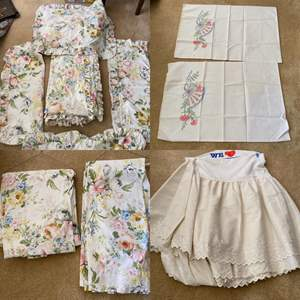 Lot # 293- Ralph Lauren Queen Size Sheets, Duvet Cover and 4 Shams. Bed Skirt, Embroidered Pillowcases.