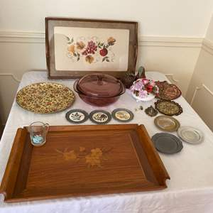 Lot # 296- Vintage Serving Trays and Miscellaneous Vintage items.