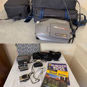Lot # 298- Vintage Video, Cameras, and Carrying Cases.