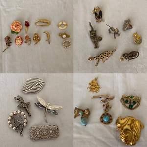 Lot # 300- Vintage Brooches, Some Signed. Trifari, DM, JJ