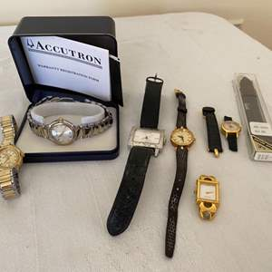 Lot # 301- Vintage Watches not authenticated: Accutron with Original Box, Gucci, Oscar De la Renta, Coach.