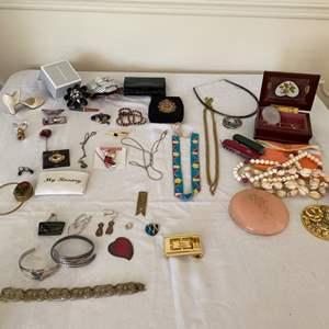 Lot # 302- David Anderson Sterling Bracelet, Vintage 835 Silver Filigree,  Ster. Cat Earrings, GC Buckle, EPlated Ring, Mor