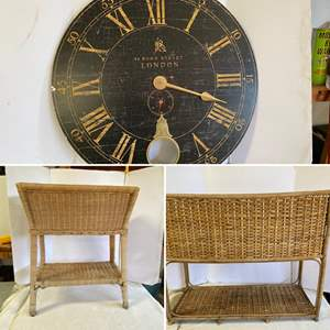 """Lot # 307 -  Large Decorative Wall Clock 31"""" dia., Two Wicker Flower Stands"""