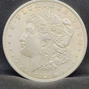 Lot 3 - 1921 AU+ Morgan Silver Dollar