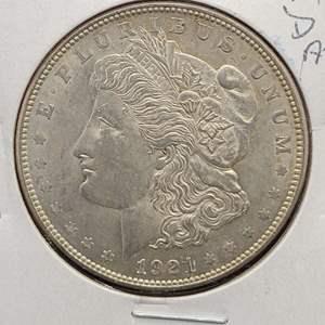 Lot 4 - 1921-D  AU Morgan Silver Dollar