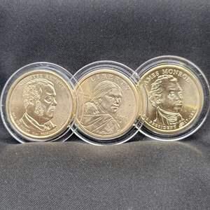 Lot 7 - Three UNC US Small Dollars, Sacajawea, Monroe, Arthur