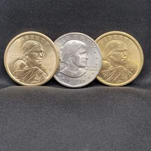 Lot 8 - Three UNC US Small Dollars, 2000-P, 2001-D Sacajawea and 1979 Susan B Anthony