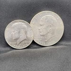 Lot 9 - 1776-1976-D UNC Set of Eisenhower Dollar and Kennedy Half Dollar