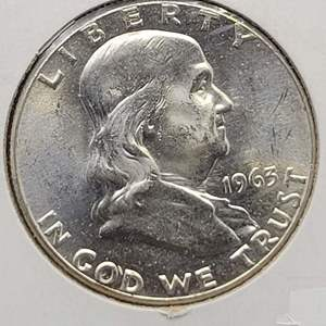 Lot 13 - 1963 UNC 64+ Silver Franklin Half Dollar
