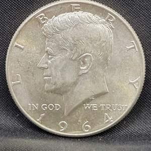Lot 14 - 1964-D UNC Silver Kennedy Half Dollar