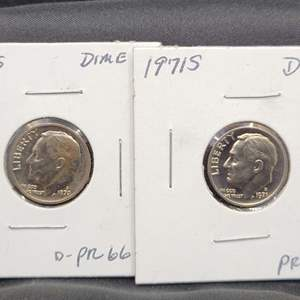 Lot 34 - Two Uncirculated Roosevelt Dimes, 1970-S, 1971-S