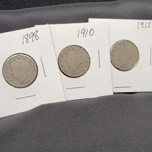 "Lot 35 - Three Liberty Head ""V"" Nickels, 1898, 1910, 1912"