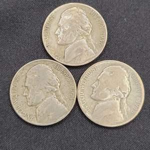 Lot 39 - Three SILVER War Nickels: 1943-S, 1944-D, 1945-S