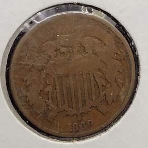 Lot 41 - 1869 RARE US 2 Cent