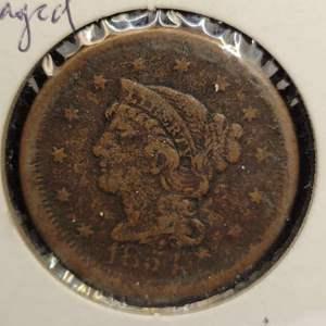 Lot 42 - 1854 RARE US Large Cent