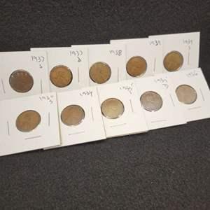 Lot 48 - Ten Lincoln Wheat Cents 1930-S - 1939-S, no duplicates