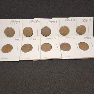 Lot 50 - Ten Lincoln Wheat Cents, 1940-D - 1956-D, no duplicates