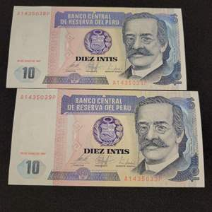 Lot 64 - 1987 Peruvian Uncirculated Consecutive Numbered Diez Intis Currency Notes