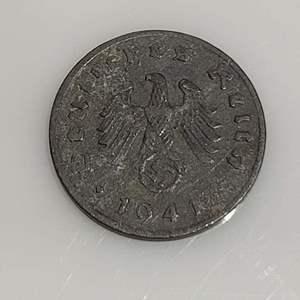 Lot 65 - 1941 German One Pfennig Coin with Swastika Emblem