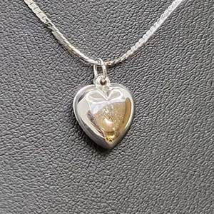 """Lot 71 - Sterling Silver Puff Heart Pendant on 18"""" Cobra Chain Stamped sterling"""