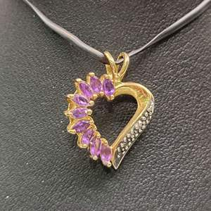 Lot 73 - Genuine Amethyst Marquise Faceted Cut Gemstones in 925 Sterling overlaid in Gold Pendant