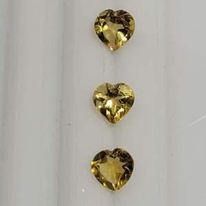 Lot 82 - Genuine Citrine Heart Faceted Cut Set of Three Gemstones, 1.99ctw